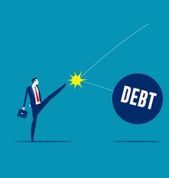 businessman kicked ball into debt vector image