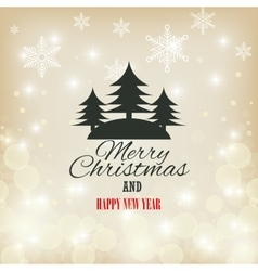 card merry christmas and happy year with christmas vector image