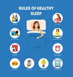 cartoon rules of healthy sleep infographics vector image