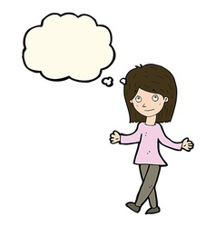 cartoon woman with no worries with thought bubble vector image