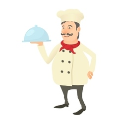Chef with dish icon cartoon style vector image