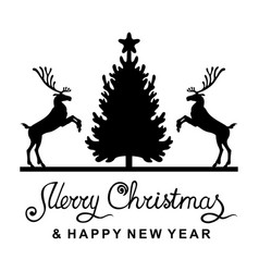Christmas card with deer fir and greeting text vector