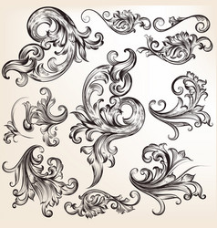 collection of calligraphic flourishes and swirls vector image