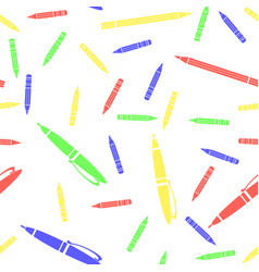 colorful pen and pencil seamless pattern vector image