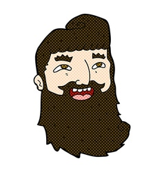 Comic cartoon laughing bearded man vector