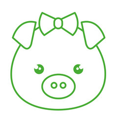 cute and tender female piggy kawaii style vector image