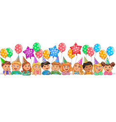 cute children faces birthday vector image