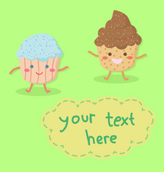 cute cupcakes character cartoon vector image
