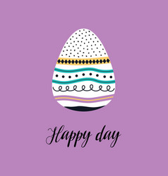 cute easter card with egg isolated vector image