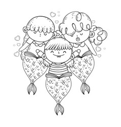 cute mermaids fairy tales vector image