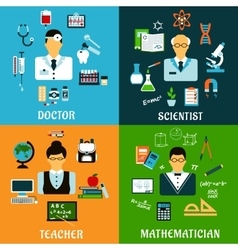 Doctor teacher scientist and mathematician vector