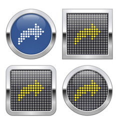 Dotted icon right curved arrow on glossy vector