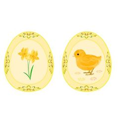 Easter eggs theme daffodil and baby chicken vector image