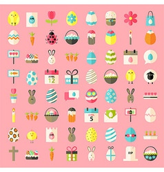 Easter flat style icons vector