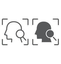 Face id line and glyph icon face recognition and vector