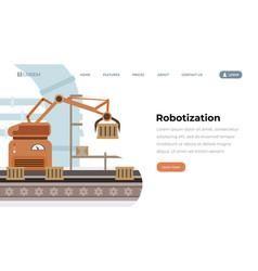 factory equipment robotization landing page vector image