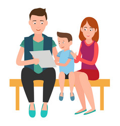 Family mother father and son sits on bench list vector