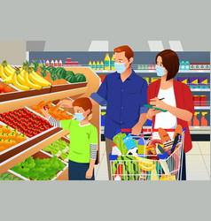 Family shopping grocery wearing mask during vector