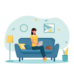 Female freelancer working from home vector