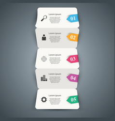 five paper business origami infographic vector image
