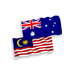 Flags australia and malaysia on a white vector