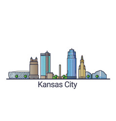 Flat line kansas city banner vector