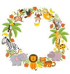 Frame with jungle animals vector