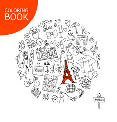 France travel sketch page for your coloring book vector