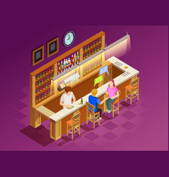 friends in bar interior isometric view vector image
