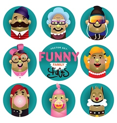 Funny family icons set vector image