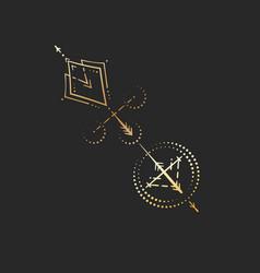 geometric tattoo design gold mystic alchemy arrow vector image