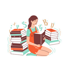 Girl sits on her knees and holds an open book vector