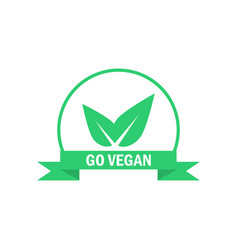 go vegan label green food icon sticker vector image