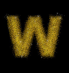 Gold dust font type letter w vector