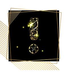 golden ornamental exclamation mark letter font vector image