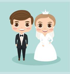 Groom cartoon couple for wedding vector