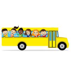 group of school children in a school bus vector image