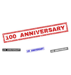 grunge 100 anniversary scratched rectangle stamps vector image