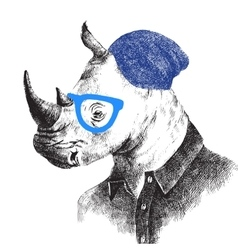 Hand drawn rhino in hipster style vector image