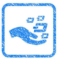 Hand offer dash symbols framed stamp vector