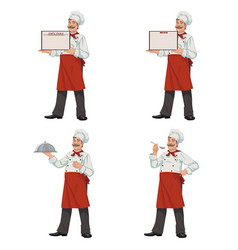 Happy chef presenting vector