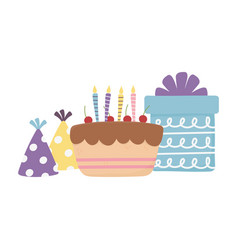 Happy day cake gift box party hats celebration vector