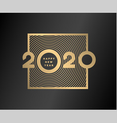 happy new year gold numbers 2020 on a dark vector image