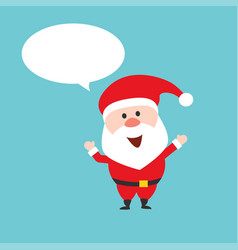 happy santa claus character with speech bubble vector image