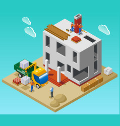 house construction isometric composition vector image