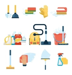 Household supplies and cleaning tools flat icons vector