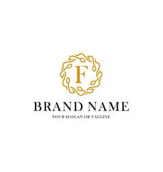 Initial letter f luxury ornament logo design vector