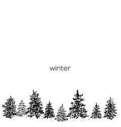 Ink fir forest background vector