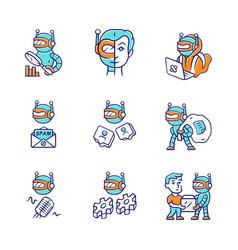 Internet bots color icons set hacker voice spam vector