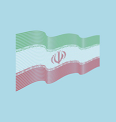 iran flag on blue background wave stripes vector image